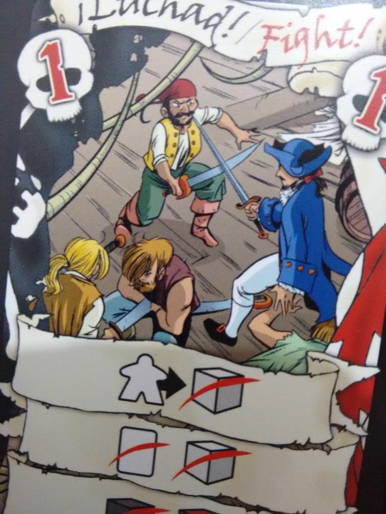 Los dibujos de las cartas están bastante chulos. Este parece decir: -Ajá! ¡Te quité la espada con mi ombligo!